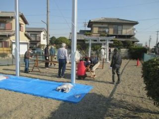 開栄町自治会、御鍬祭りに向けて幟立ての訓練を実施!