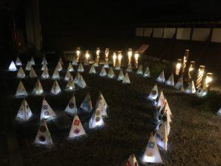 竹灯りと三角灯籠コラボレーション