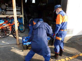 2月の防災倉庫の点検と定例訓練